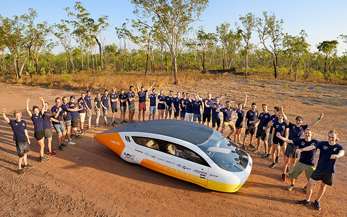 Aerial view of Team Eindhoven and solar car