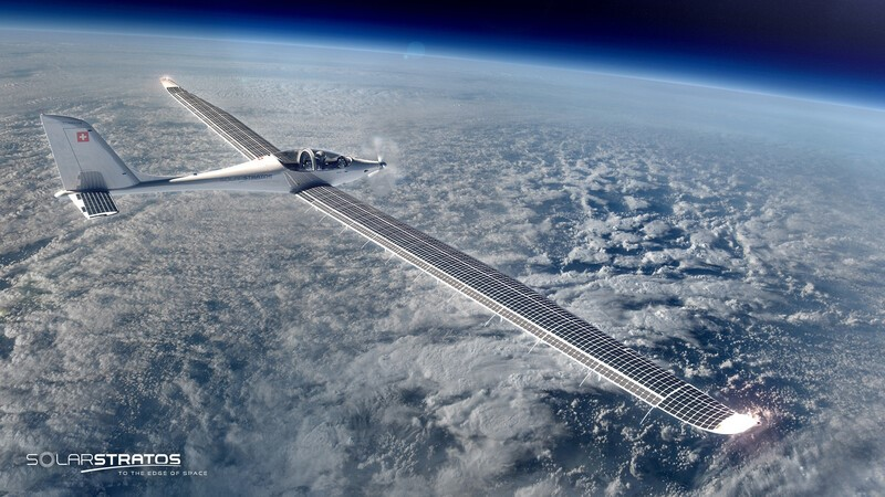 SolarStratos airplane soaring over the Earth with SunPower solar cells