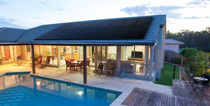 SunPower Performance solar panels on home with swimming pool