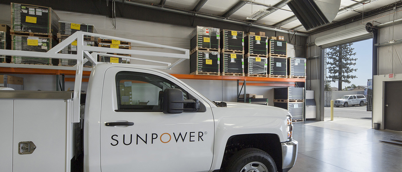 SunPower truck inside warehouse