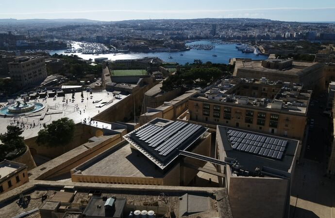 Malta parliament building with SunPower solar panels