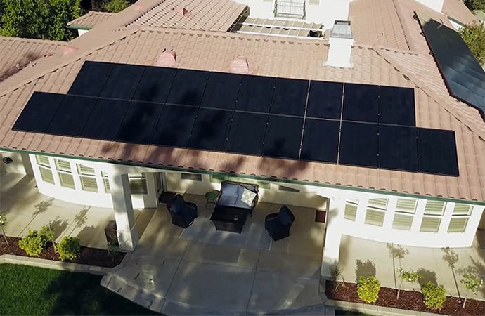 Home with solar panels that have shading