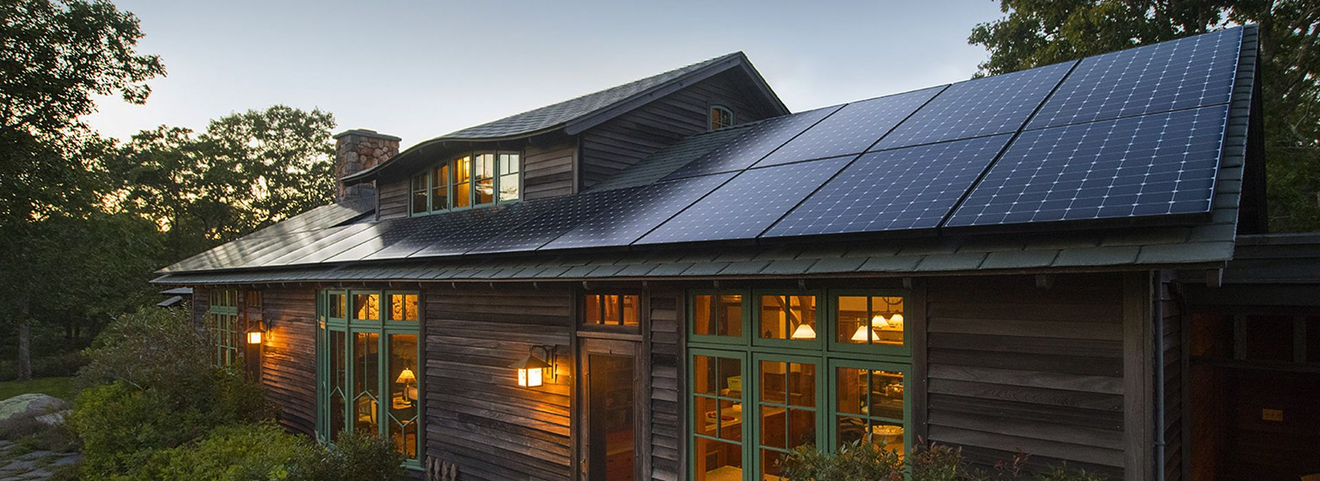 cabin home with solar panels