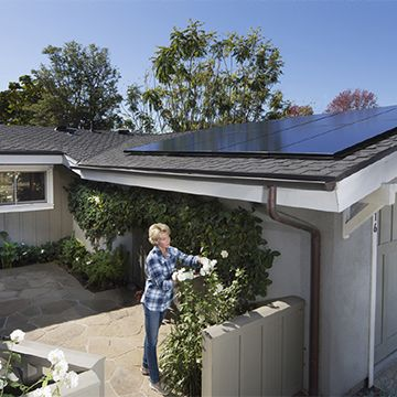 woman pruning roses in front of home with solar panels