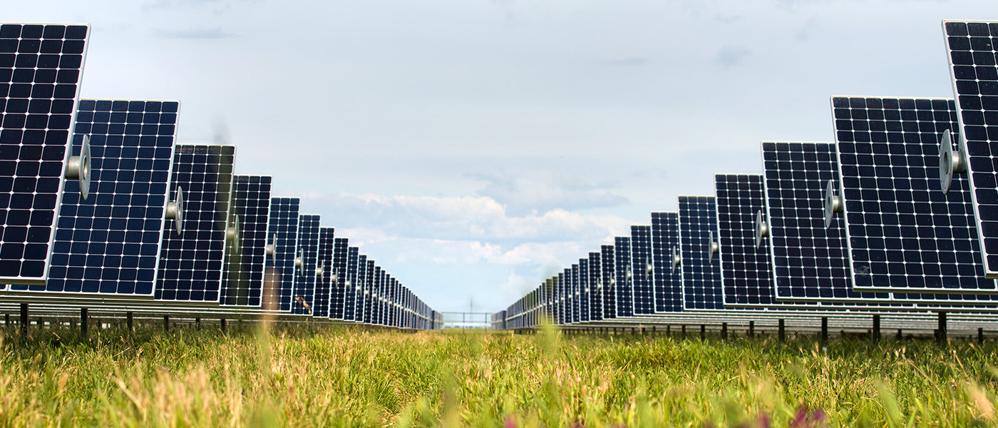 SunPower solar panels in field of grass