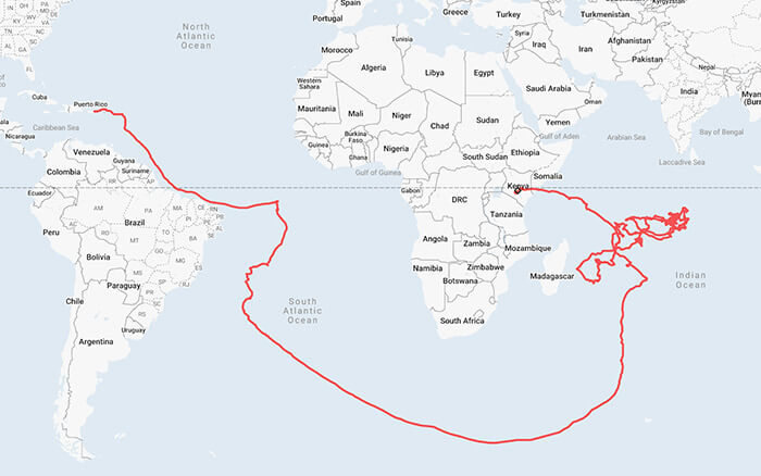 A Map of the Flight Path of the Loon Balloon