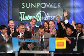 SunPower ringing bell at NASDAQ
