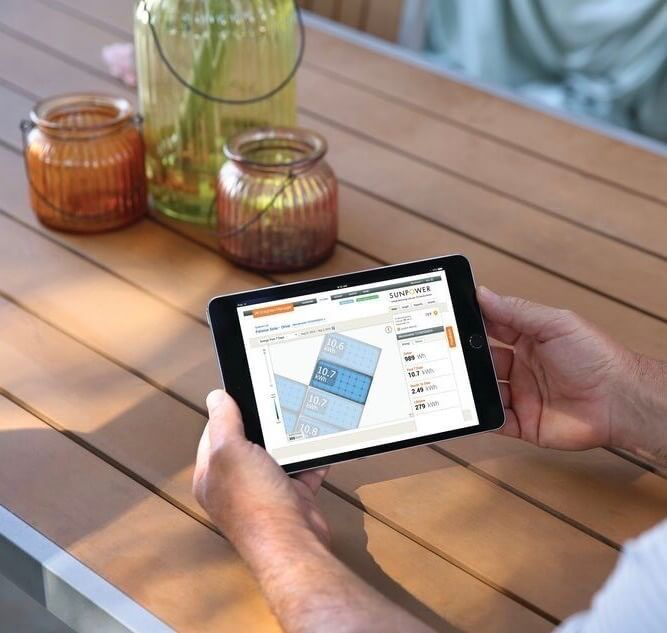 SunPower Enphase App on Tablet