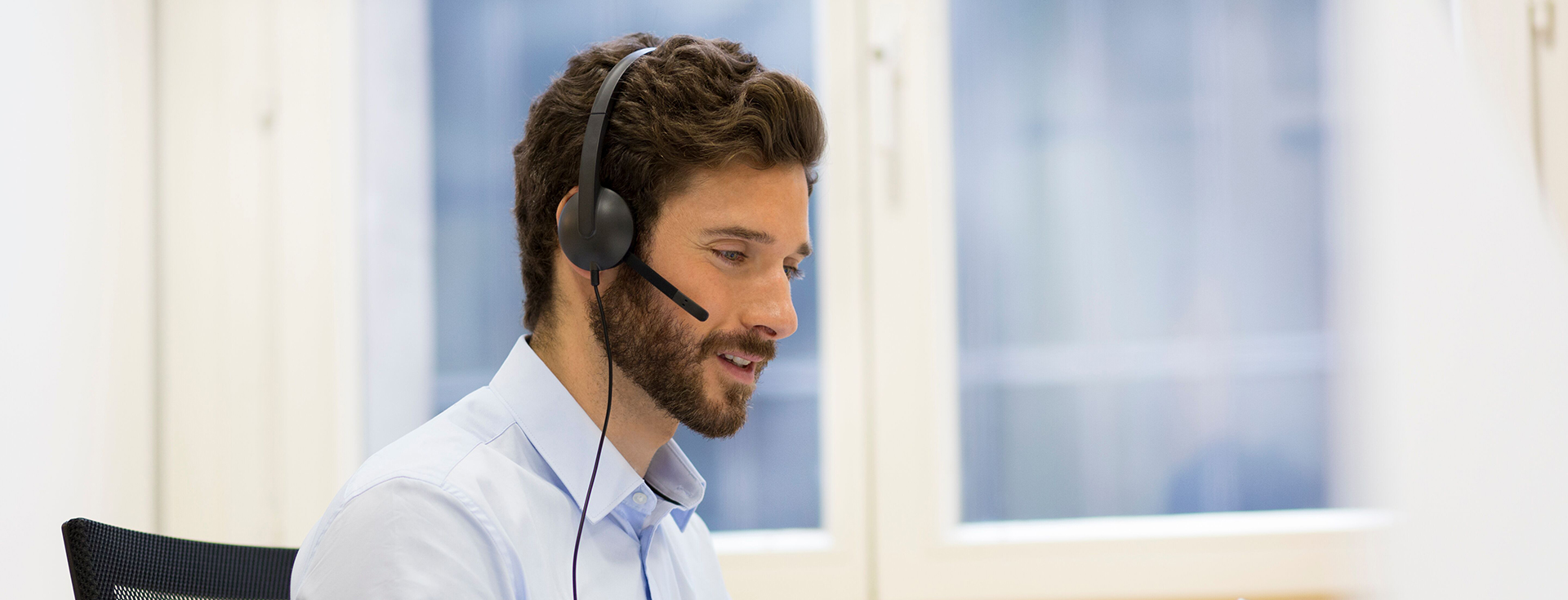 customer support person with headset