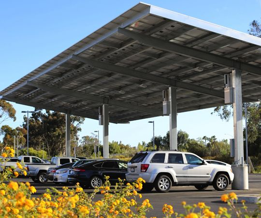 cars parked in solar carport