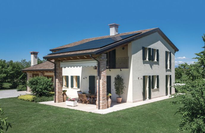 Italian home with rooftop solar panels