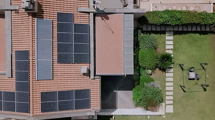 solar panels on a residential home roof