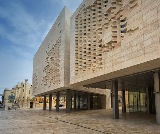 Exterior ground-level view of Malta Parliament building