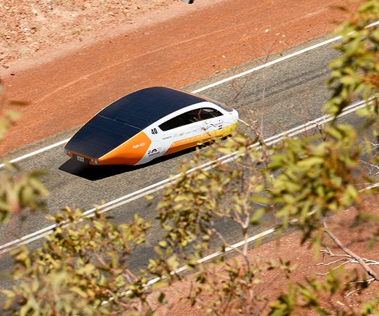 Aerial shot of Team Eindhoven solar car