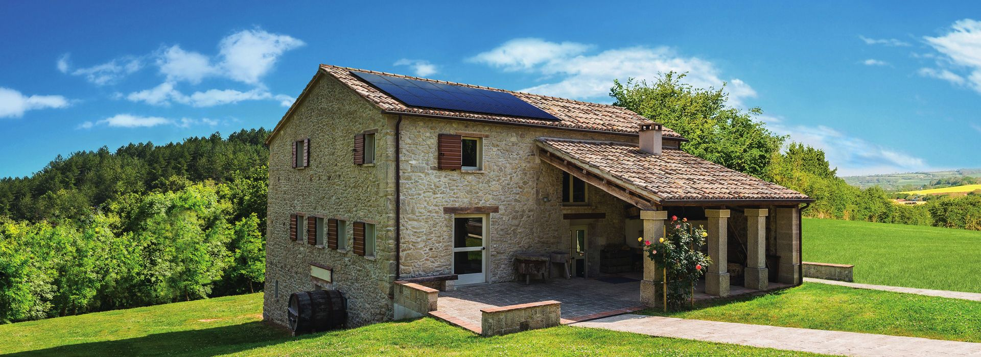 solar panels on home in Italy