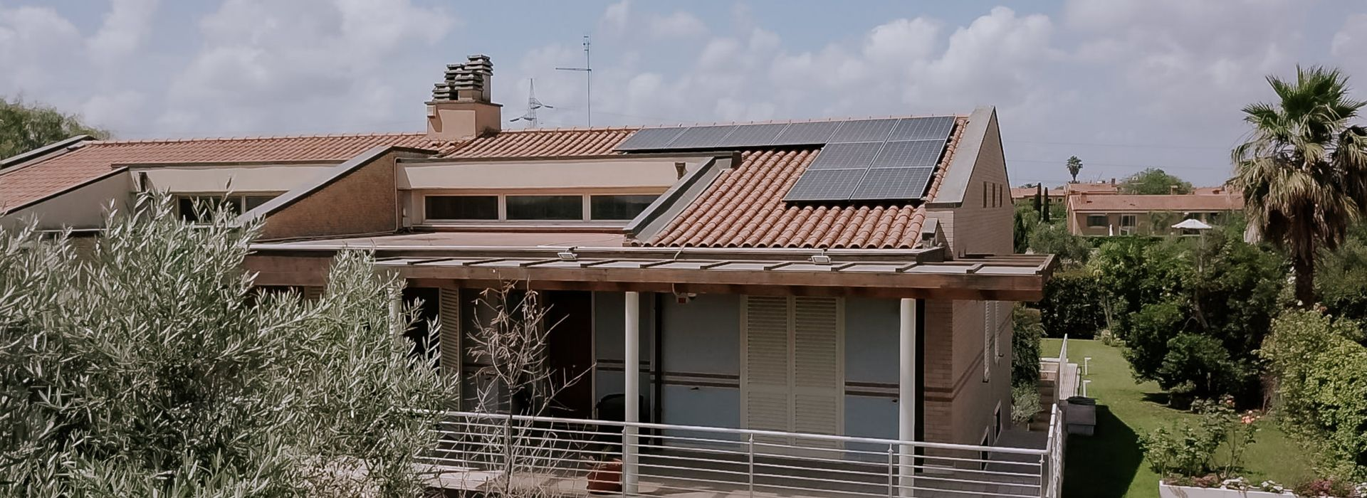 solar panels on residential home roof