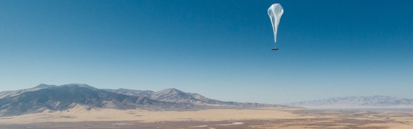 Loon balloon flying in sky powered by SunPower maxeon cells