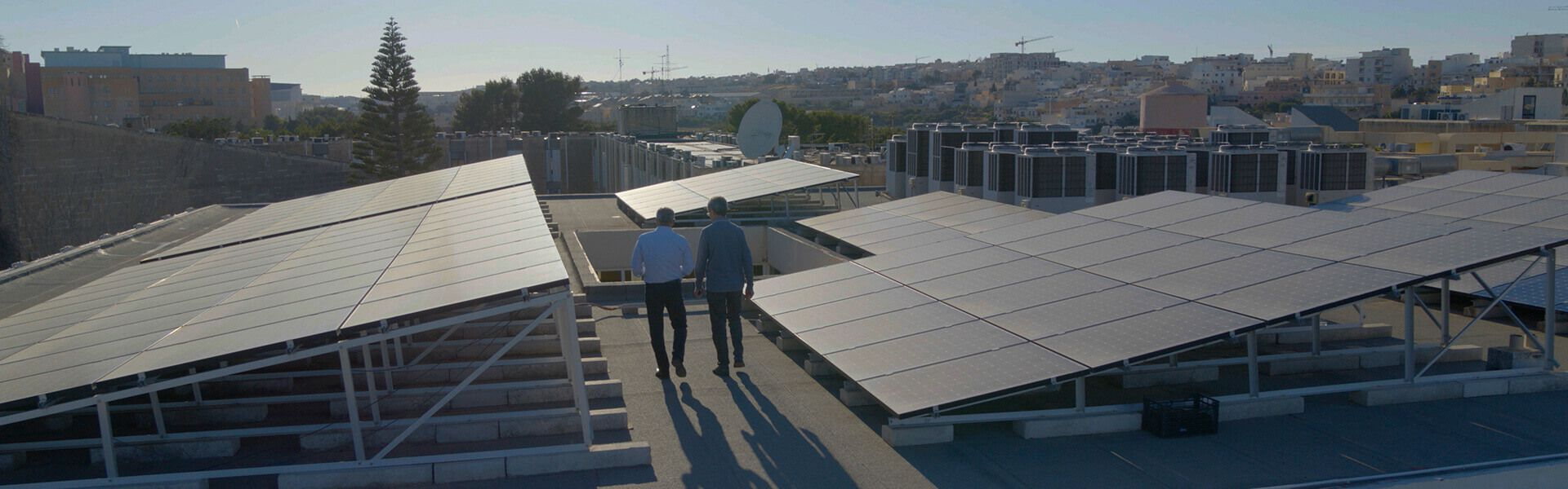 Rooftop with Solar Panels Malta University