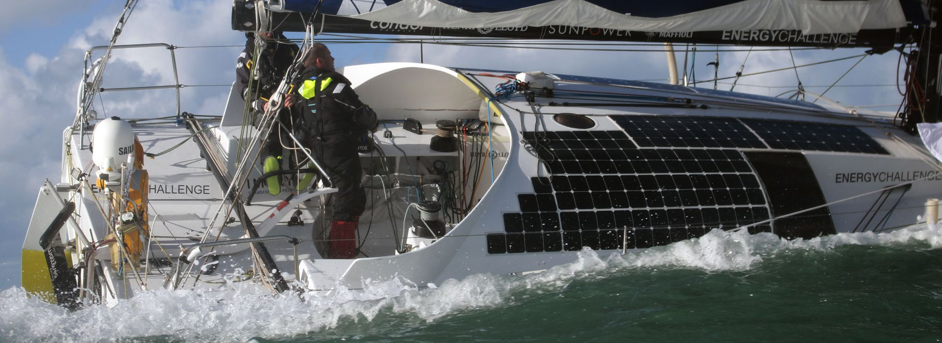 Phil Sharp racing a solar-powered boat