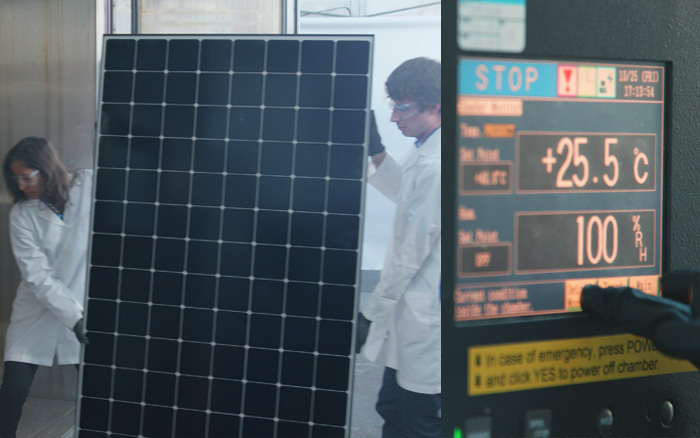SunPower technicians load a Maxeon panel into a laboratory testing chamber