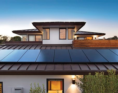 Modern home with all-black sunpower solar panels
