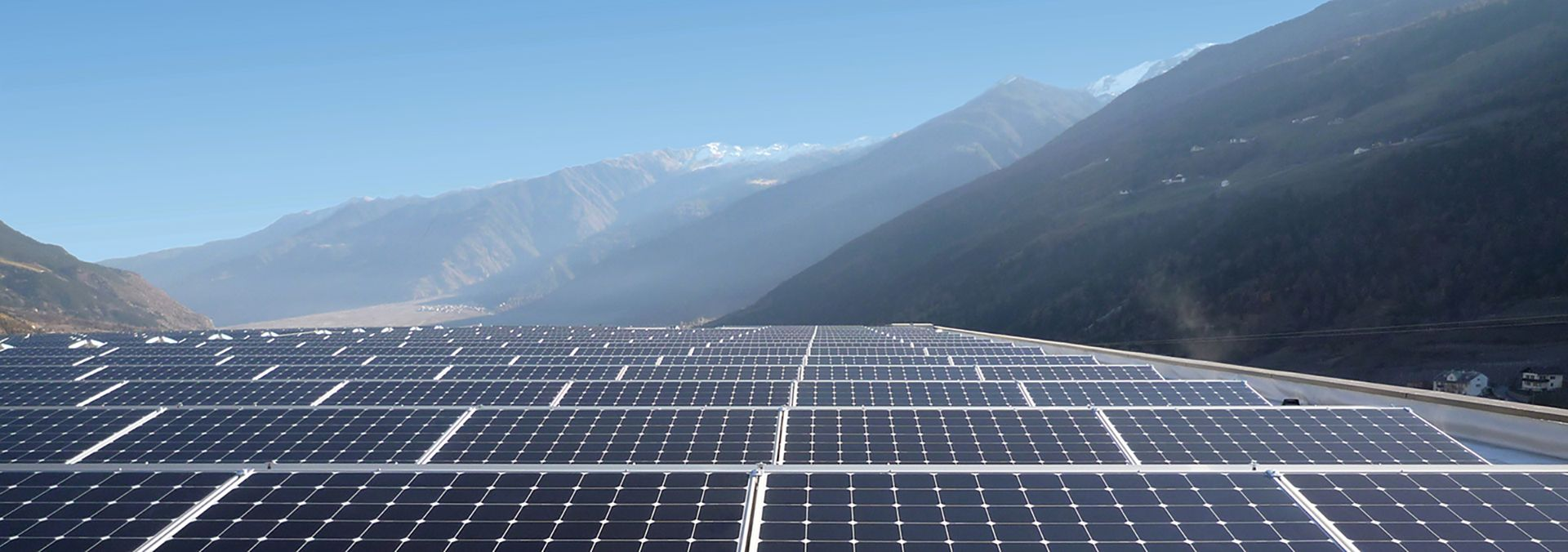 solar panel array in the mountains